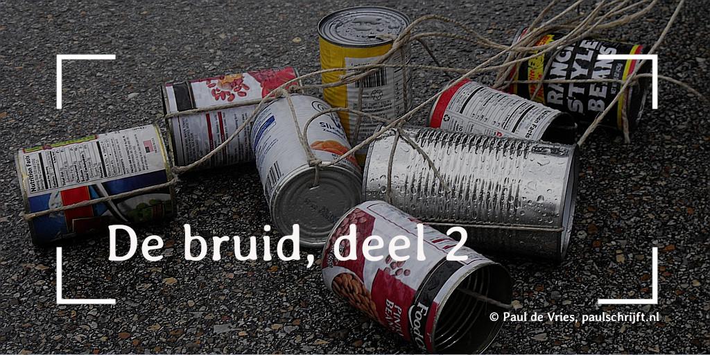 Blikjes achter een trouwauto bij het versje 'De bruid, deel 2' van Paul Schrijft