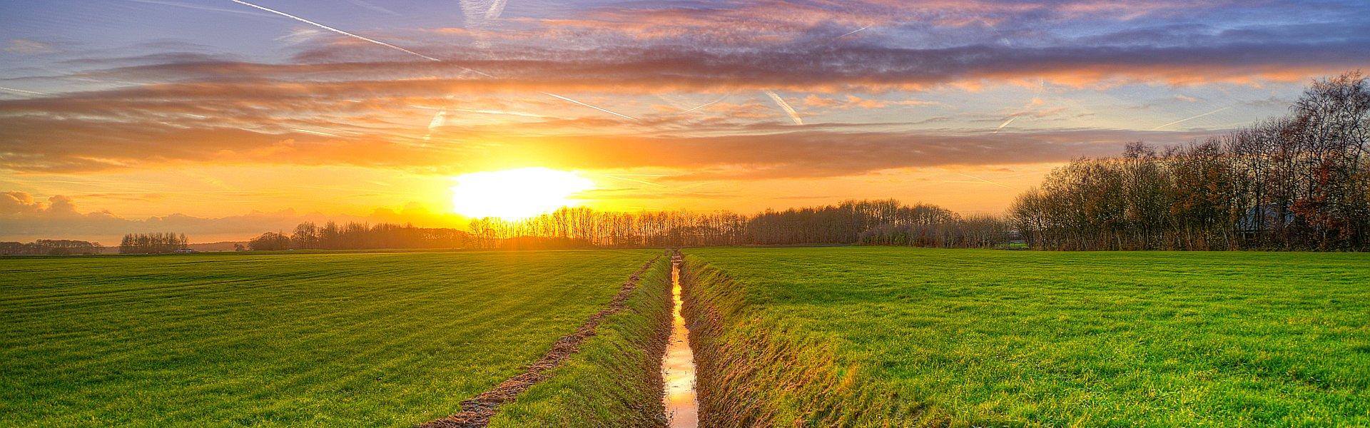 Foto van een sloot bij zonsondergang van Peter Heeling op skitterphoto. Bij de Column 'Gedram' van Paul de Vries Schrijft