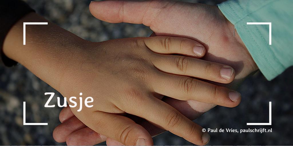 Twee kinderhanden bij het versje 'Zusje' van Paul Schrijft